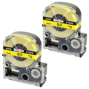 Prestige Cartridge™ Compatible AC9YW SC9YW Black on Yellow Label Tapes (9mm x 8m) for LabelWorks Printing Machines - Prestige Cartridge