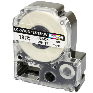 Prestige Cartridge™ Compatible AS18KW SS18KW Black on White Label Tapes (18mm x 8m) for LabelWorks Printing Machines - Prestige Cartridge