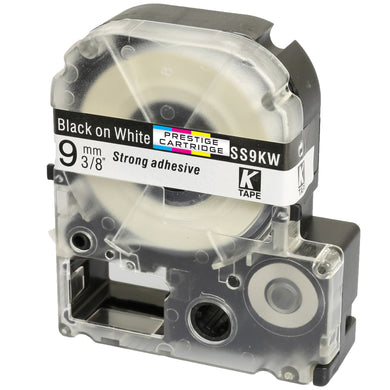 Prestige Cartridge™ Compatible AS9KW SS9KW Black on White Label Tapes (9mm x 8m) for LabelWorks Printing Machines - Prestige Cartridge