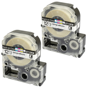 Prestige Cartridge™ Compatible AT12KW ST12KW Black on Clear Label Tapes (12mm x 8m) for LabelWorks Printing Machines - Prestige Cartridge