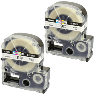 Prestige Cartridge™ Compatible AT9KW ST9KW Black on Clear Label Tapes (9mm x 8m) for LabelWorks Printing Machines - Prestige Cartridge
