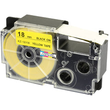 Load image into Gallery viewer, Prestige Cartridge™ Compatible Ribbon Casio XR-18YW XR-18YW1 Black on Yellow Label Tapes (18mm x 8m) for Casio Label Printing Machines - Prestige Cartridge