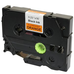 Prestige Cartridge™ Compatible TZ-B11 TZe-B11 Black on Fluorescent Orange Label Tapes (6mm x 8m) for Brother P-Touch Label Printing Machines - Prestige Cartridge