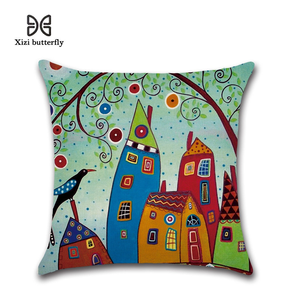 Hand-Painted Cushion Cover