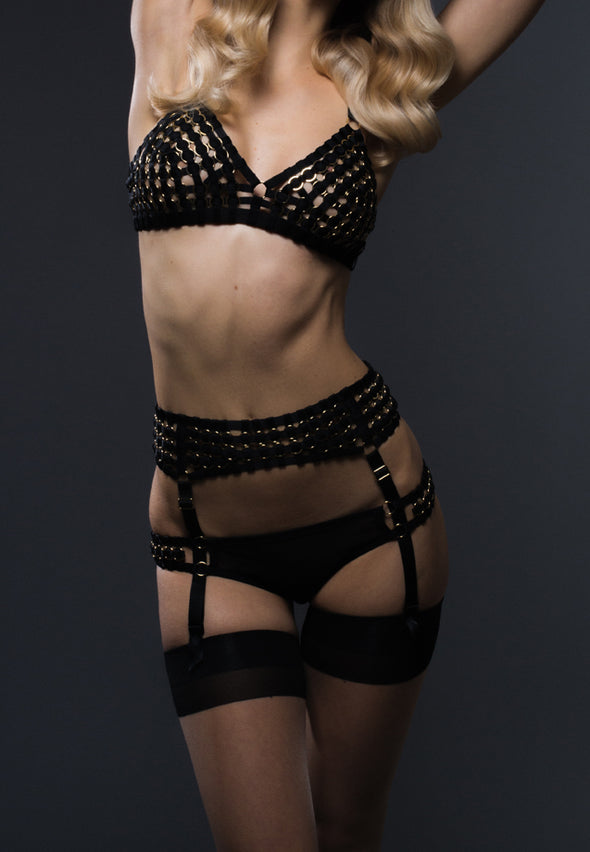 Woven Suspender Belt with Thigh Garters