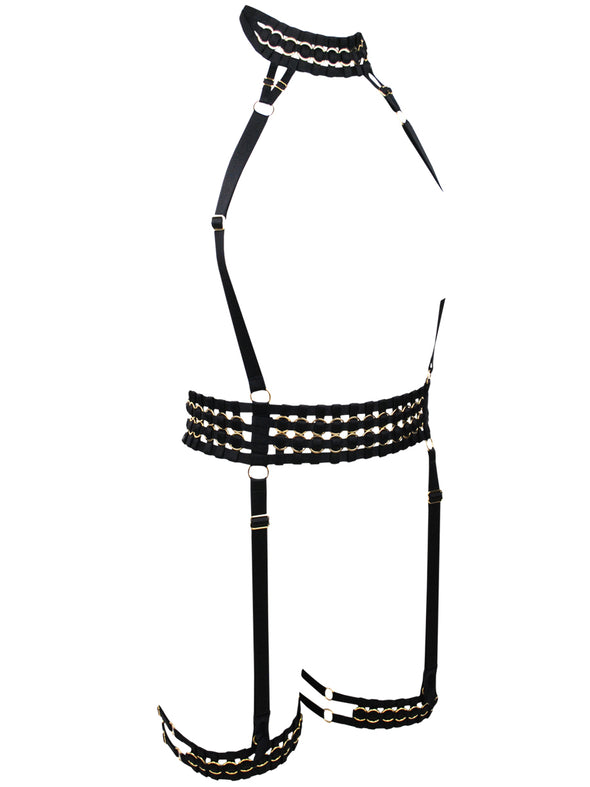 Woven Suspender Harness with Thigh Garters