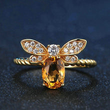 Load image into Gallery viewer, Sweet Citrine Honey Bee Ring