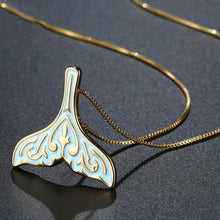 Load image into Gallery viewer, Golden Blue Mermaid Tail Necklace