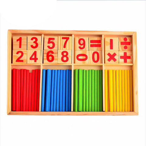montessori math sticks and wooden pieces inside the box