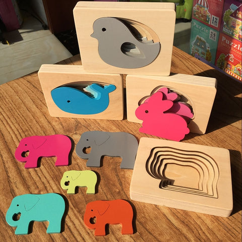 multi layer baby puzzle gray bird pink rabbit blue whale and green elephant montessori toy for toddlers