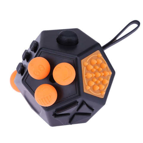 Black 12-Side Magic Toy with Orange Buttons