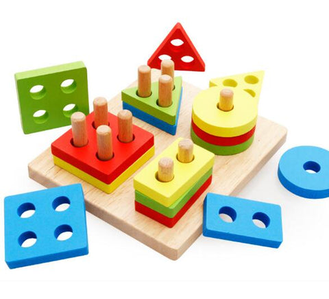 montessori shapes stacking wooden toy