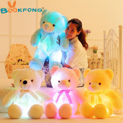 blue white yellow pink led glowing plush teddy bear
