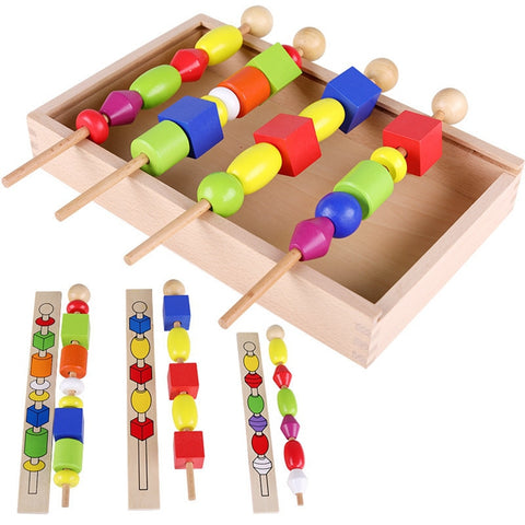 wooden sticks with colorful beads on for kids and toddlers