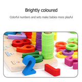 zoomed in view of colorful pieces of montessori learning board