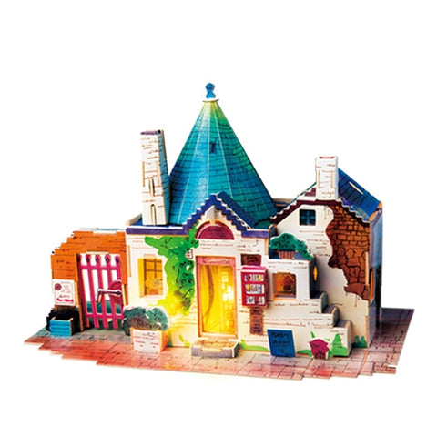 Colorful 3D Puzzle Dollhouse on the white background front view