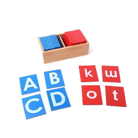 montessori sandpaper alphabet set with blue and red capital case and lowercase letter cards