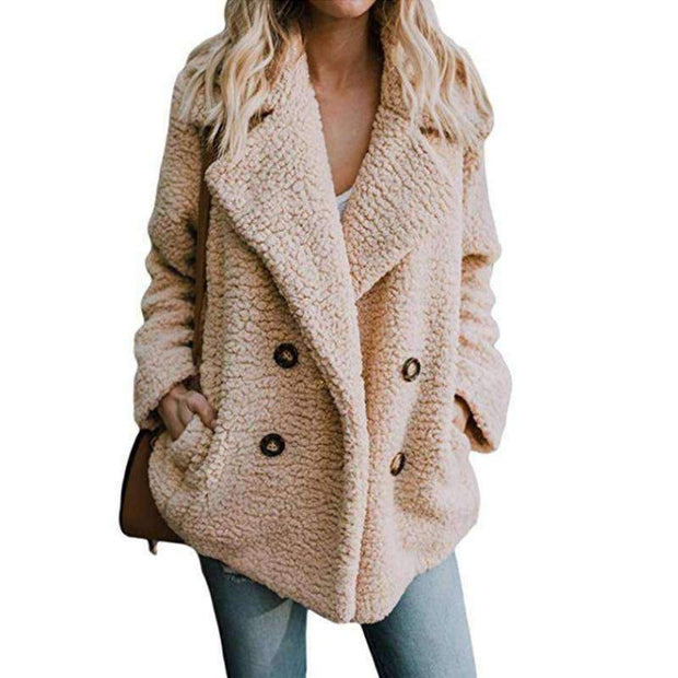 Cozy Fuzzy Fleece Cardigan Coat - Khaki / S - Coat - Deal Builder