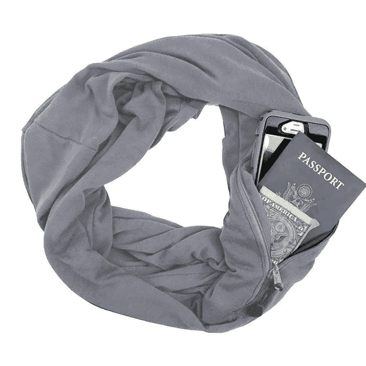 Infinity Travel Pocket Scarf - Gray / Buy 1 - Scarf - Deal Builder