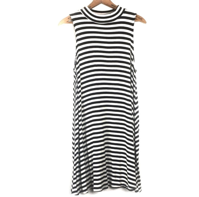 Soprano Mock Neck Sleeveless Striped Dress