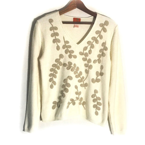 Hearts Of Palm Embroidered V Neck Sweate