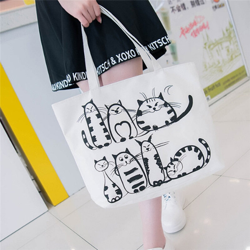 Cat Themed Canvas Tote