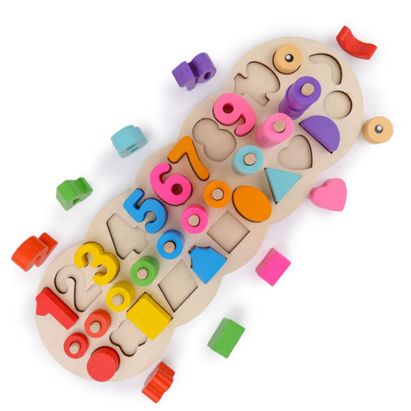 Big Montessori Stacking Math Number Counting Shapes Puzzle Toys Wooden Blocks
