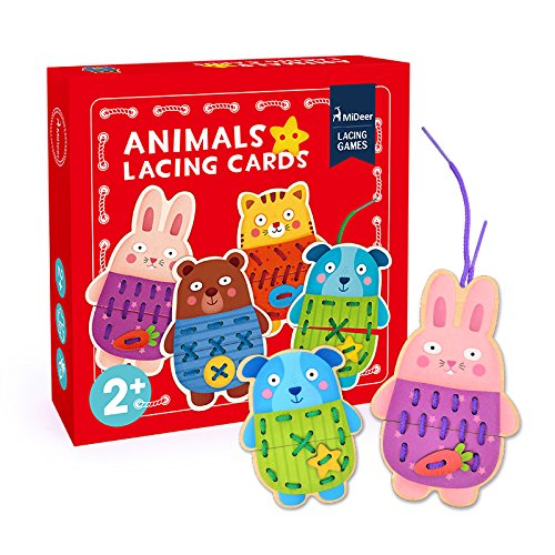 MIDEER Animals Lacing Cards