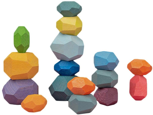 16 pcs Wooden Balancing Blocks, Coloured Wooden Stones Stacking Game