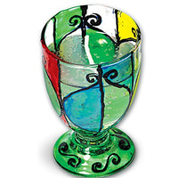 GLASS PAINTED CANDLE GOBLETS