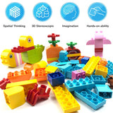 Edu Toys 130 Pieces Large Building Blocks Particles Creative Educational Toys Family Pets Animals Flowers Garden Compatible with All Brands