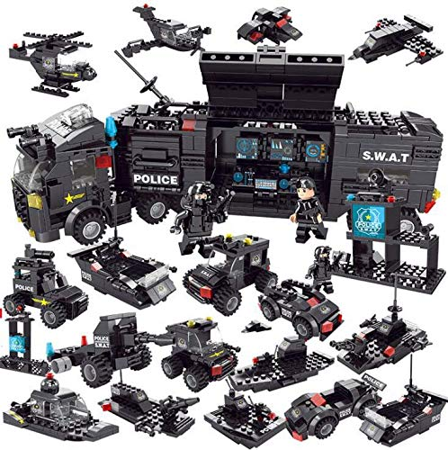 EDU TOYS INDIA Police Swat with Car and Gun Building Blocks Toys - 750 Pieces