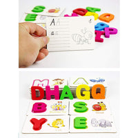 Alphabet ABC Learning Write and Wipe Reusable Cards with Wooden ABC Alphabet Blocks Matching Game (2 in 1 Game)
