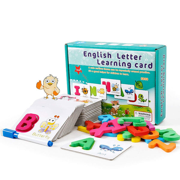EDU TOYS INDIA Alphabet ABC Learning Write and Wipe Reusable Cards with Wooden ABC Alphabet Blocks Matching Game (2 in 1 Game)