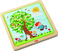 HABA Seasons of The Year Puzzle Game, Preschool Educational Learning Toys Set for Boys and Girls | Cognitive Development