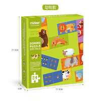 MIDEER Double Sided Domino Puzzle Animal and Numbers Pairing