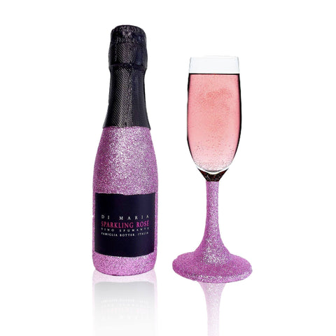 20cl Rose Prosecco & Matching Glass - glitter prosecco