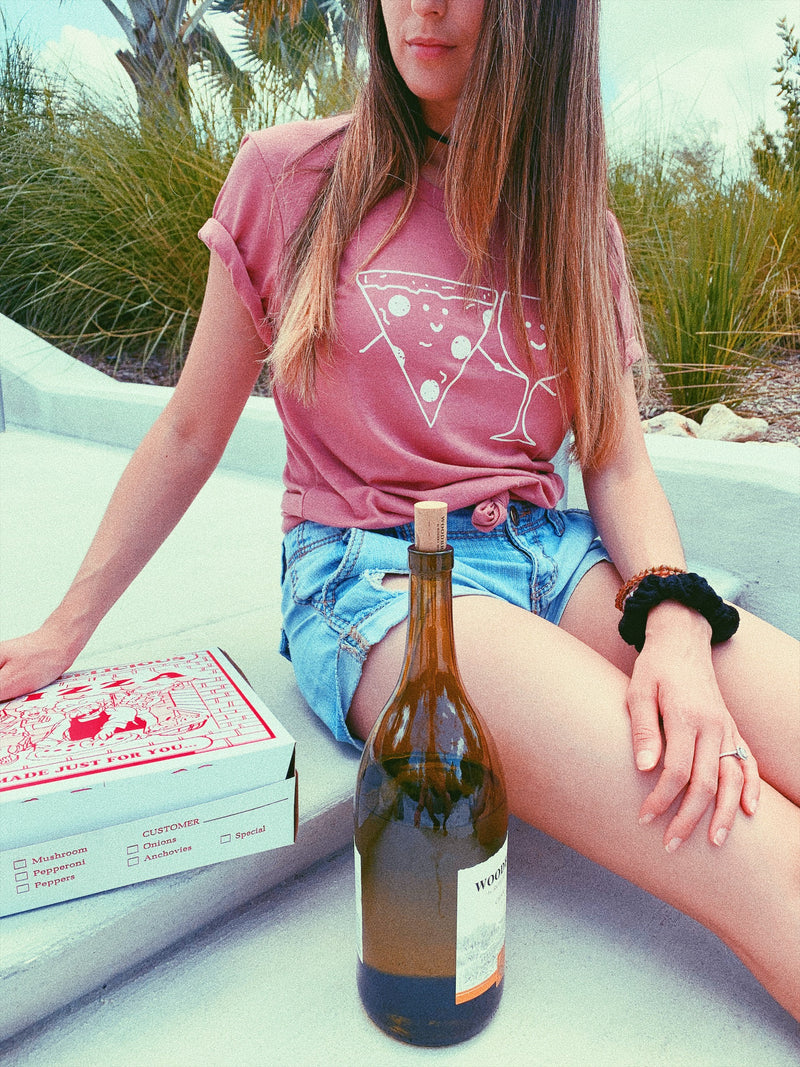 Looking for the perfect pizza and wine tee for your next date night? This cute pizza and wine shirt is perfect for a night in with your best friends and Netflix or a night out!
