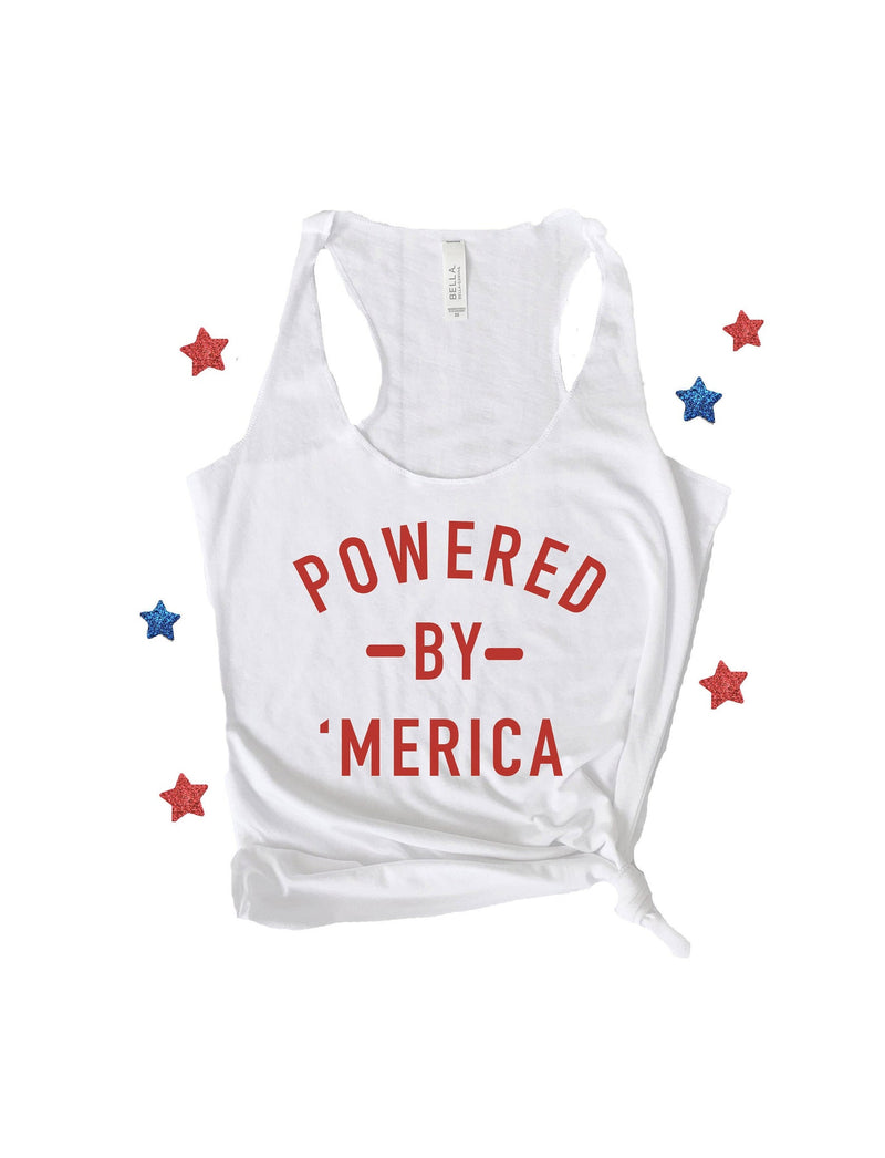 Our super cute Powered by 'Merica tank is the perfect patriotic shirt for all your 4th of July festivities! Support your love for America with this cute 4th of July tank top!