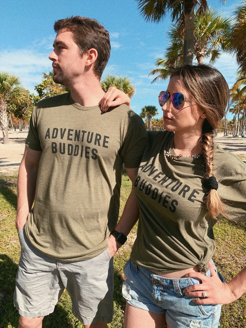 What better way to adventure the world than with your loved one in these cute matching adventure buddies tshirts! These super soft and cute tees are perfect to take on your next vacation whether it's on your honeymoon or a weekend getaway with your best friends!