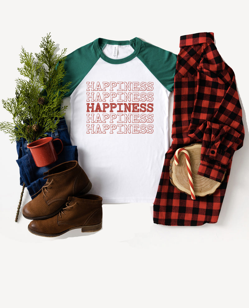 Spread some happiness during the holidays in this cute raglan tee!