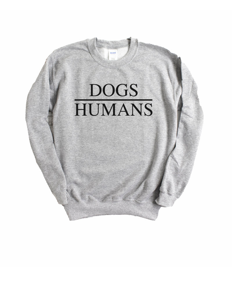 This cute dogs over humans sweatshirt is the perfect dog mom sweatshirt to let people know what a beautiful world it would be if people had hearts like dogs.