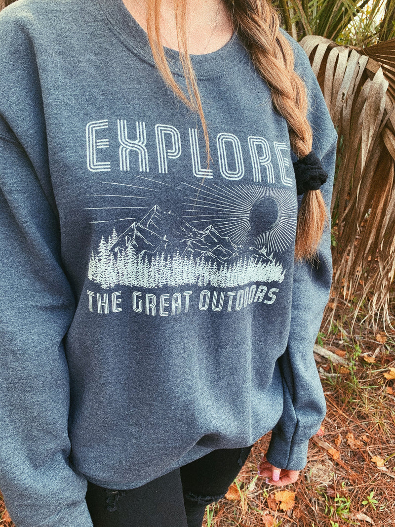 Explore the great outdoors with your best friend in our women's Take A Hike sweatshirt! The perfect adventure sweatshirt to explore the world and add to your vacation wardrobe!