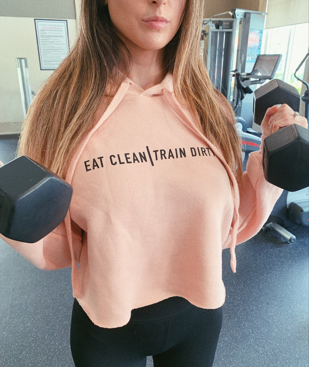 Looking for a funny gym hoodie to wear for your next workout? This women's cropped hoodie is a great gift for your fitness lover friend whether that's your sister, best friend or girlfriend. It's very comfortable and perfect for lifting, CrossFit, yoga or cardio