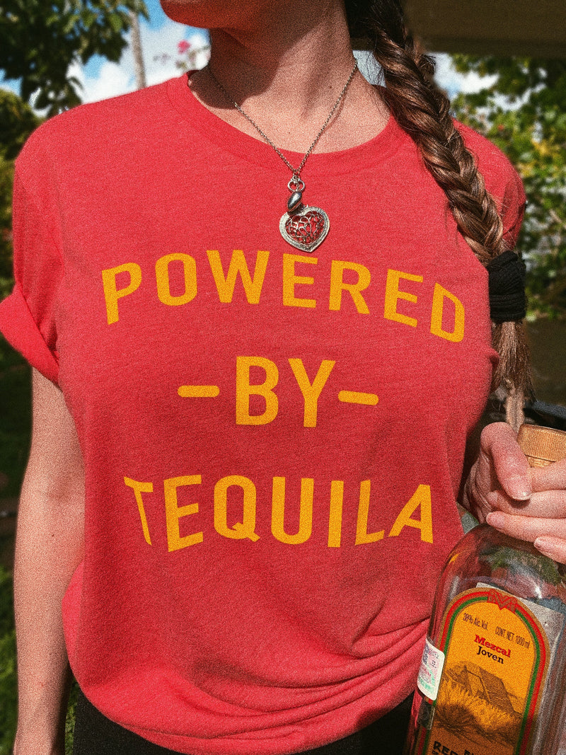Fiesta hard in this funny women's tequila shirt! Perfect Cinco De Mayo shirt for all the tequila lovers out there! This Powered By Tequila shirt is also great to wear to the gym and show your love for tequila!