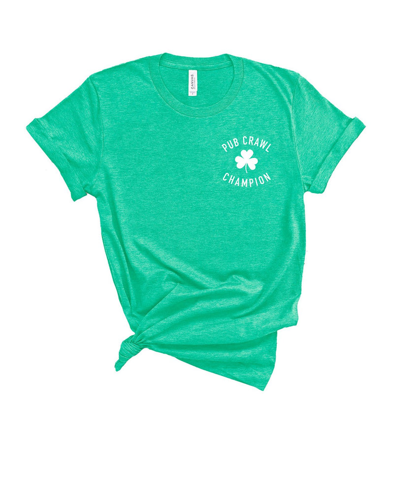 This funny St. Patrick's Day shirt is a great shirt to wear to your St. Patrick's Day parade while you get ready to pub crawl! Let everyone know that you're the pub crawl champion in this funny St. Pattys Day tee!
