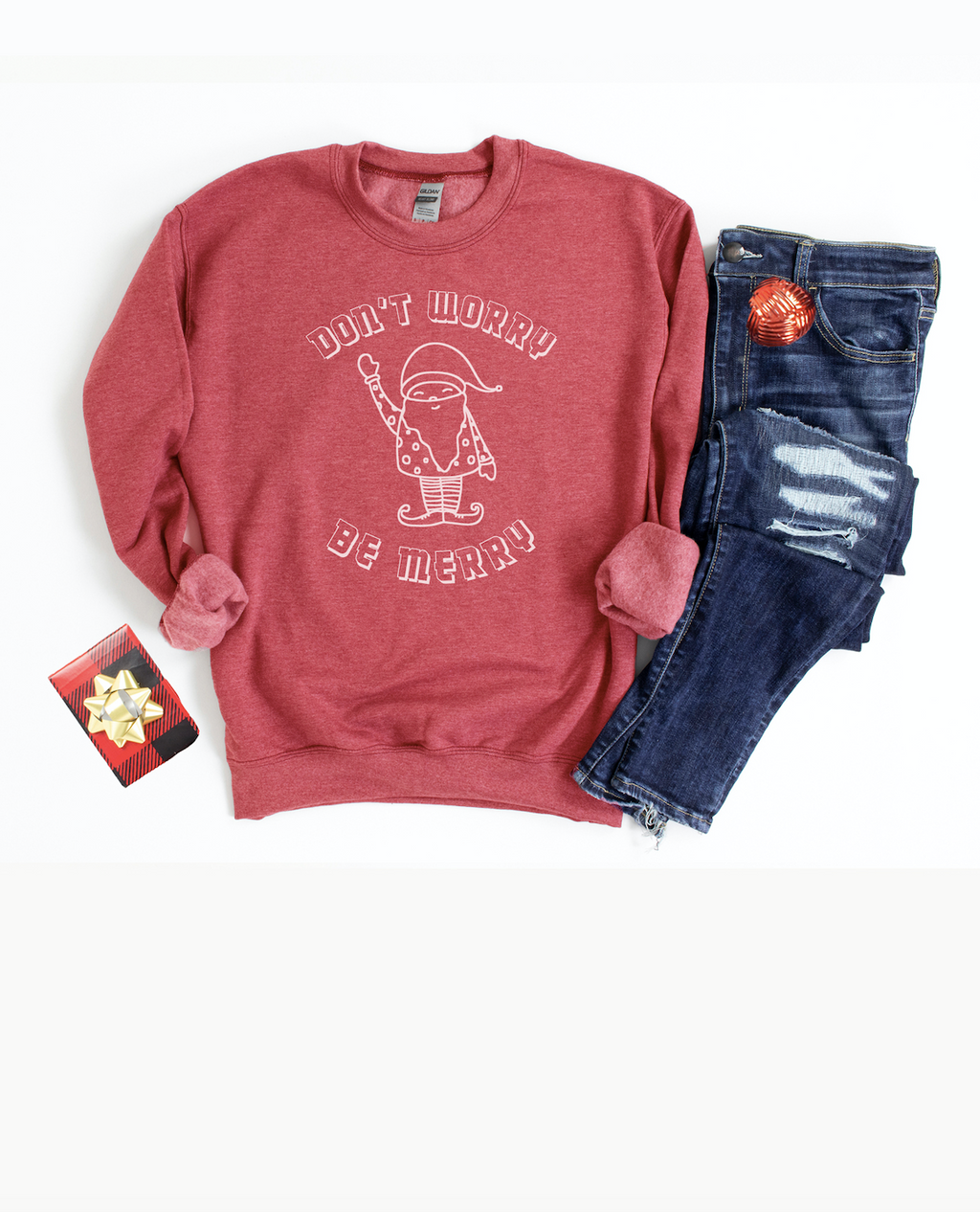 Be Merry this holiday season in our funny and cozy sweatshirt!  Edit alt text