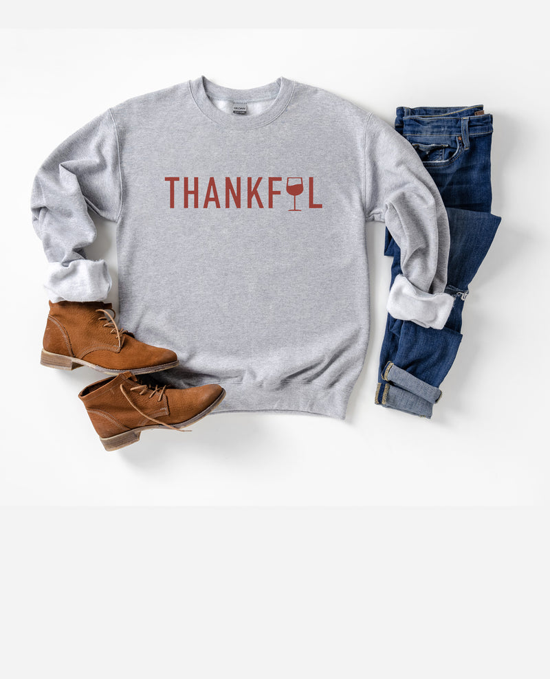 Let's give some thanks this year to your favorite glass(or bottle) of vino in this cute Thanksgiving sweatshirt!  Edit alt text