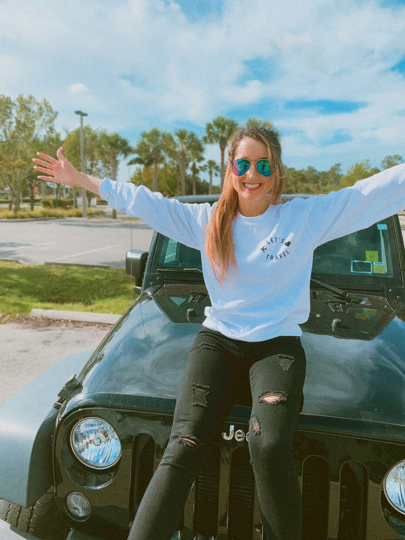 Travel the world in our travel sweatshirt! Wear this cute women's travel sweater on your next vacation! Whether you're traveling out of the country or going on a road trip, this tee is perfect to be comfy and cozy!