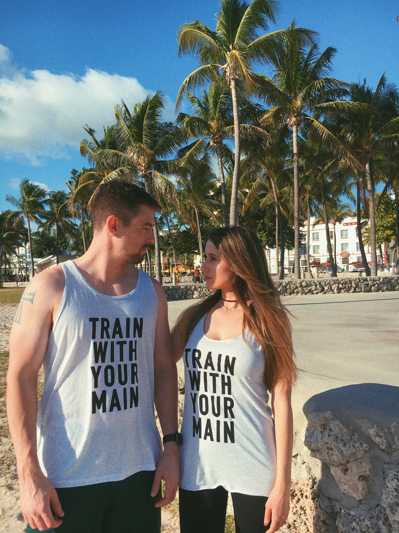 Train with your main with these cute matching workout tanks! These super soft, cute and lightweight racerback tanks are perfect to wear on your next workout at the gym! Be a power couple while you wear these matching workout tanks on your fitness journey!
